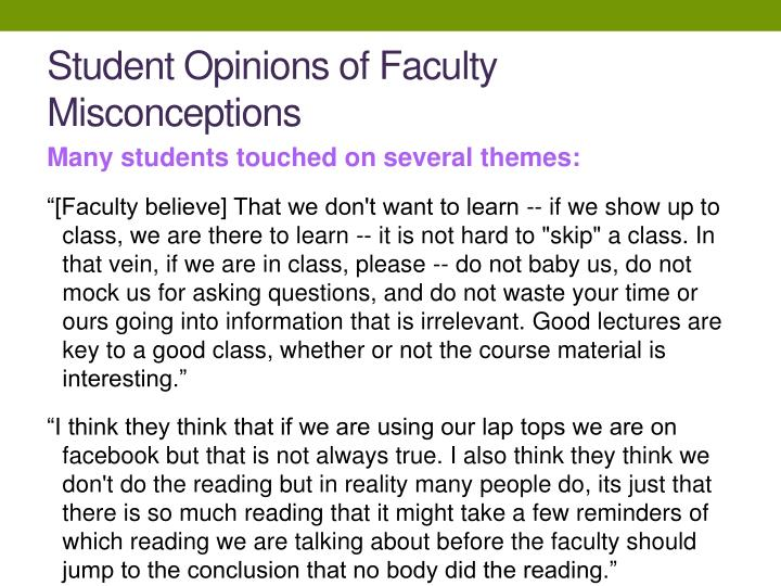 Student Opinions of Faculty Misconceptions