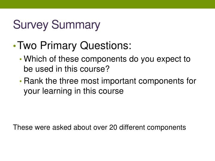 Survey Summary