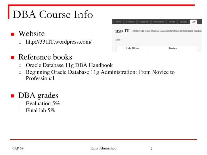 DBA Course Info
