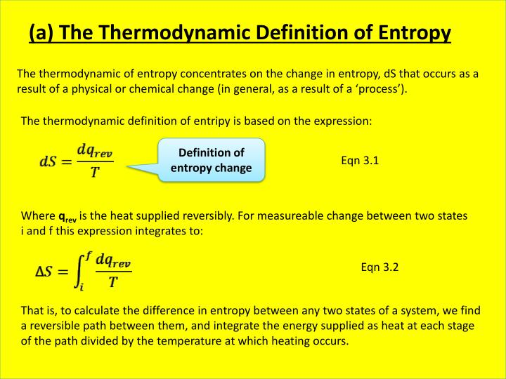 (a) The Thermodynamic Definition of Entropy