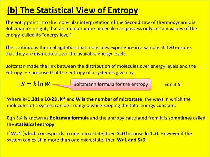 (b) The Statistical View of Entropy