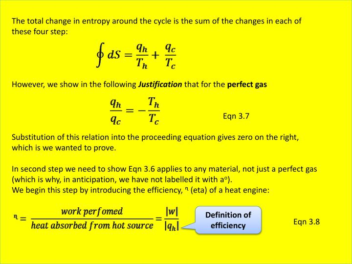 The total change in entropy around the cycle is the sum of the changes in each of