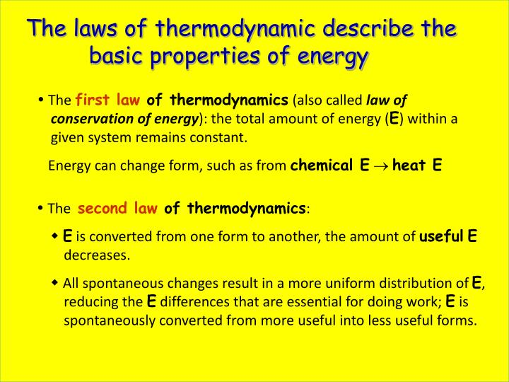 The laws of thermodynamic describe the basic properties of energy