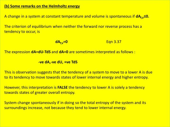 (b) Some remarks on the Helmholtz energy