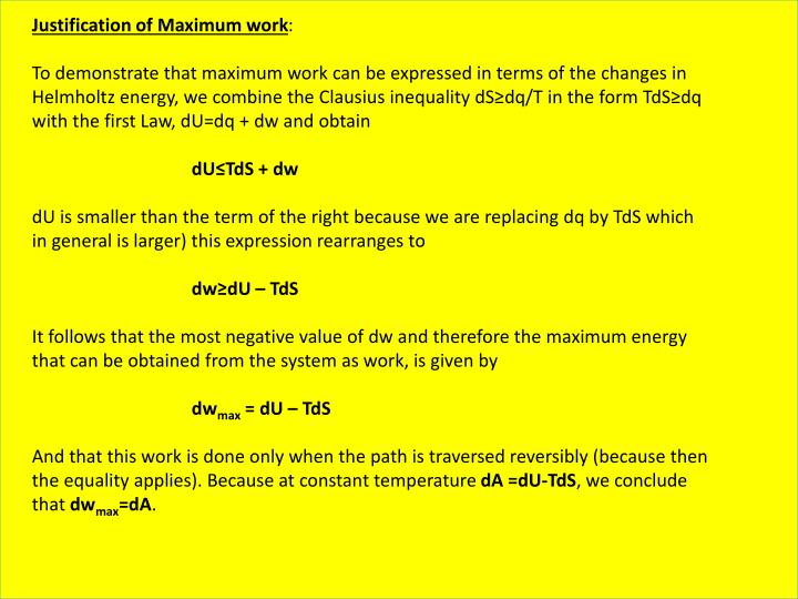 Justification of Maximum work