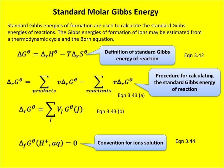 Standard Molar Gibbs Energy