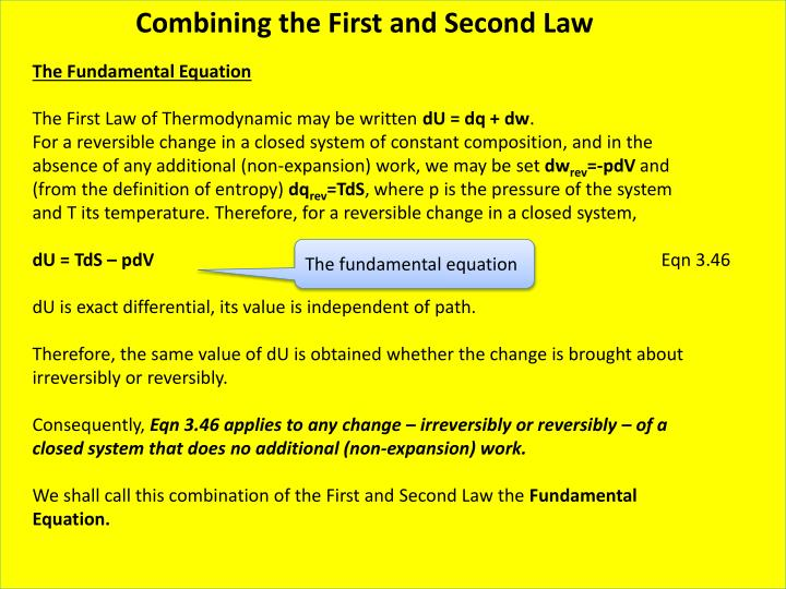 Combining the First and Second Law
