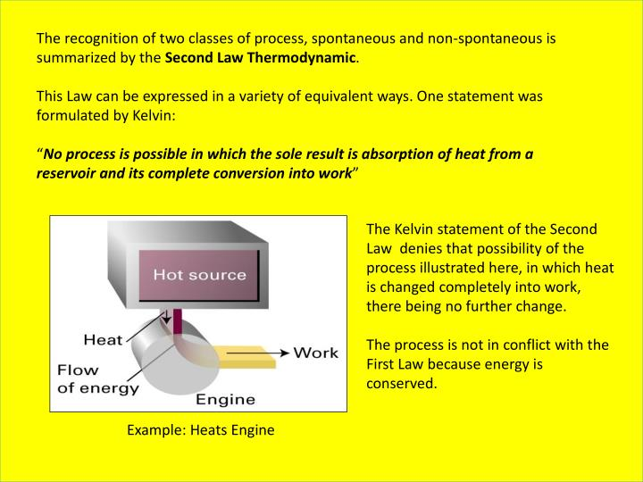 The recognition of two classes of process, spontaneous and non-spontaneous is summarized by the
