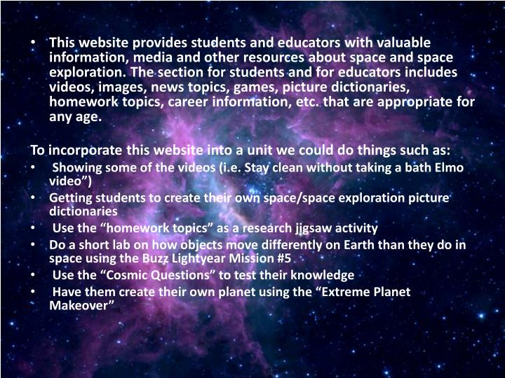 This website provides students and educators with valuable information, media and other resources ab...