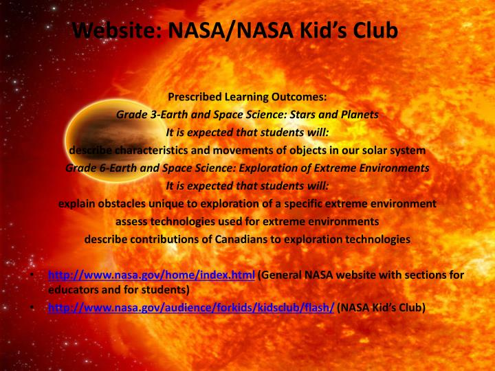 Website nasa nasa kid s club