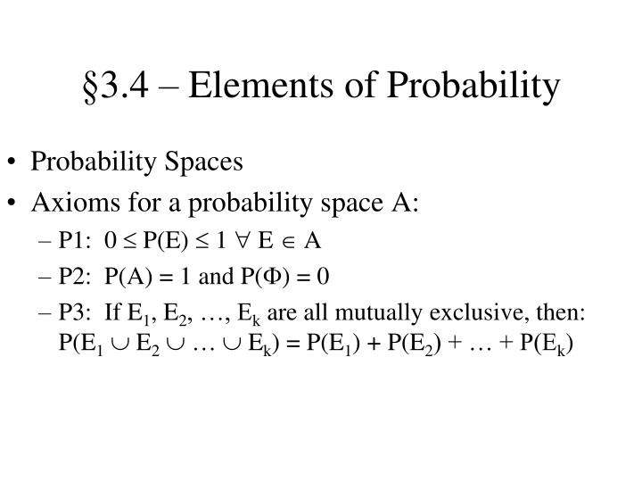 §3.4 – Elements of Probability