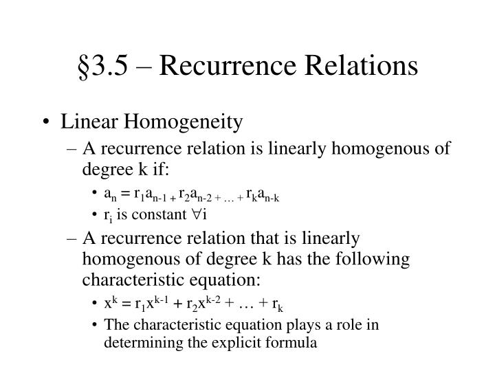 §3.5 – Recurrence Relations