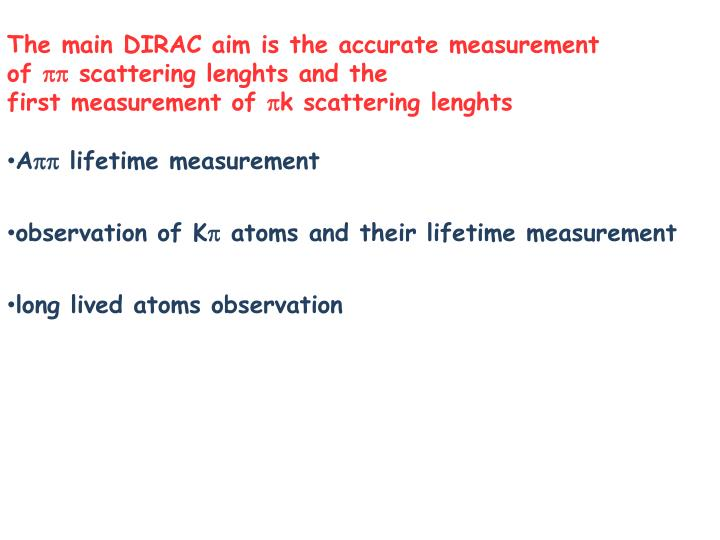 The main DIRAC aim is the accurate measurement