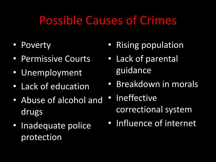Possible Causes of Crimes