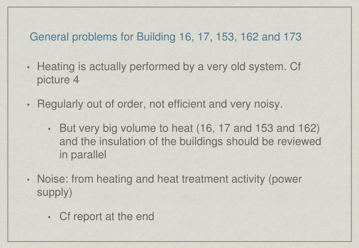 General problems for Building 16, 17, 153, 162 and 173