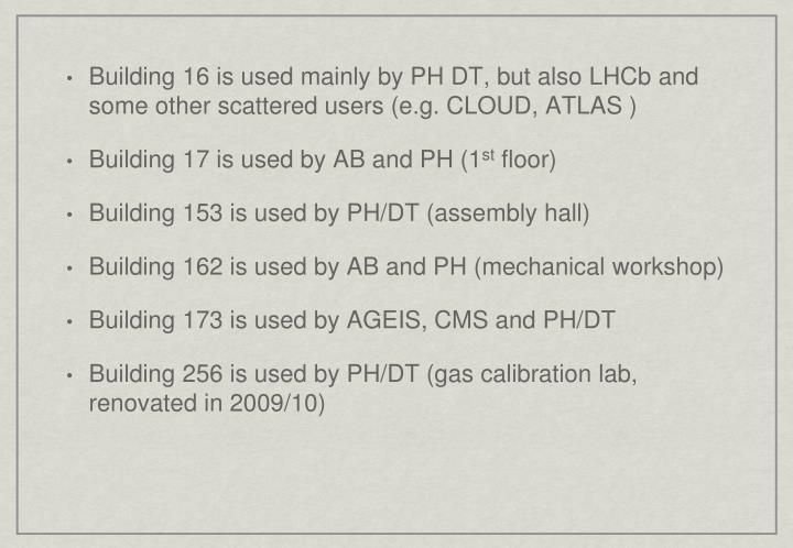 Building 16 is used mainly by PH DT, but also