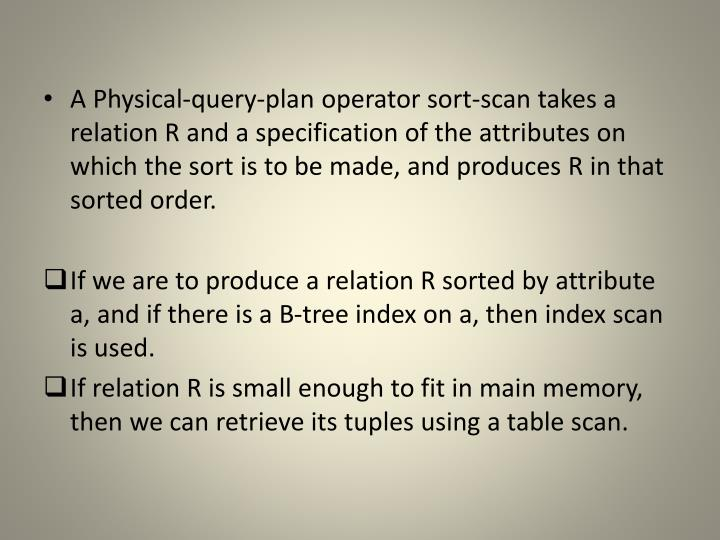 A Physical-query-plan operator sort-scan