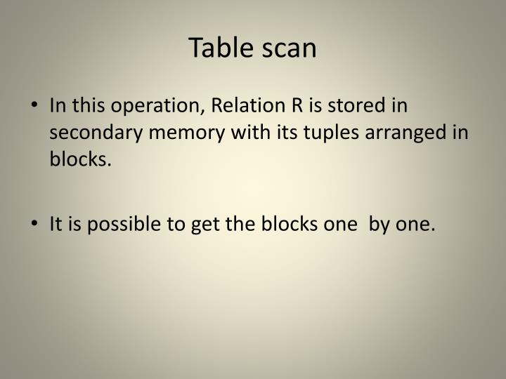Table scan