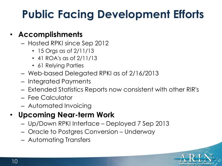 Public Facing Development Efforts