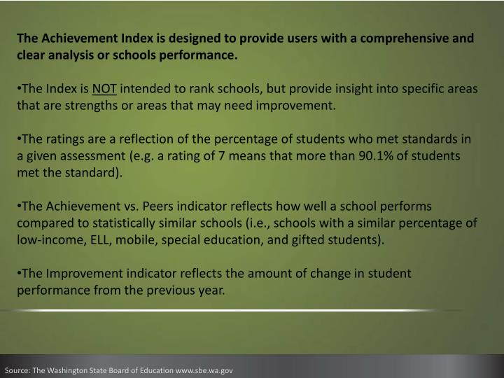 The Achievement Index is designed to provide users with a comprehensive and clear analysis or schools performance.