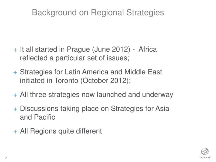 Background on regional strategies