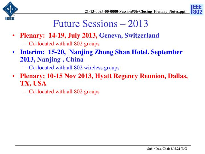 Future Sessions – 2013