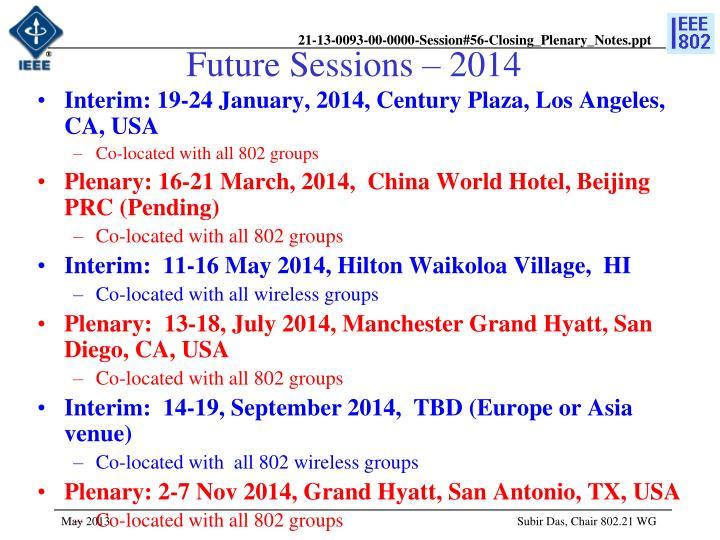Future Sessions – 2014