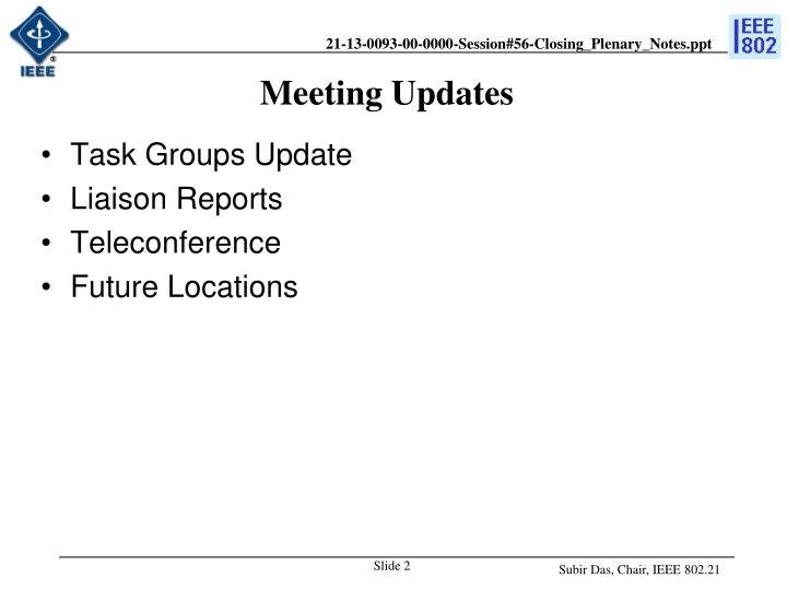Meeting updates