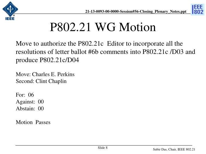 P802.21 WG Motion