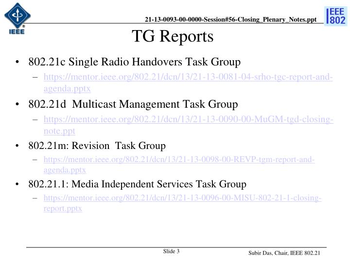 TG Reports