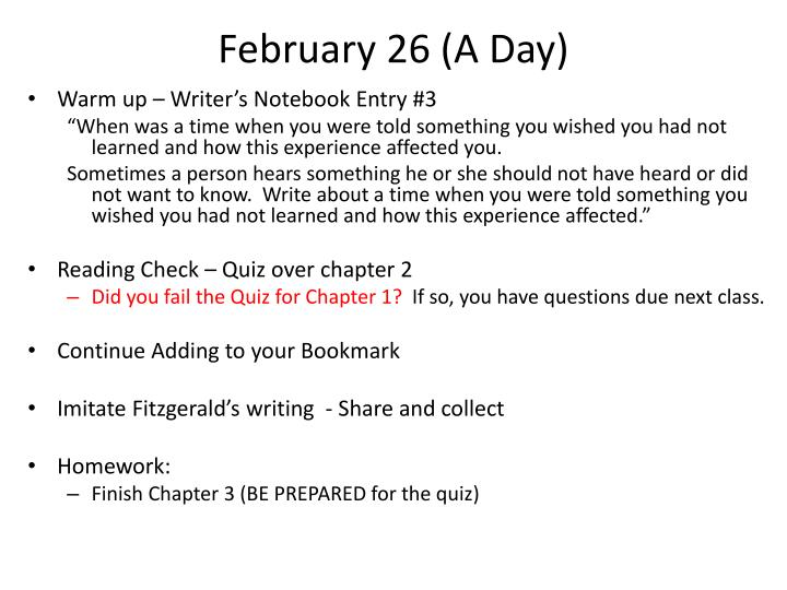 February 26 (A Day)