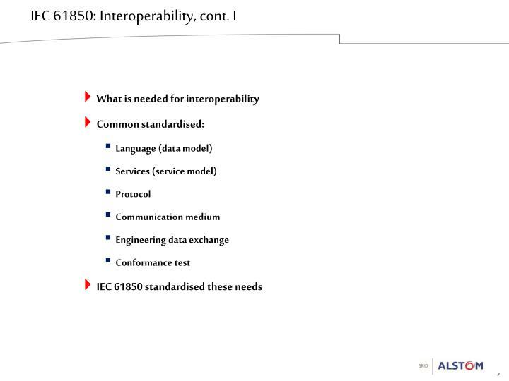 IEC 61850: Interoperability, cont. I