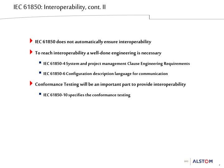 IEC 61850: Interoperability, cont. II