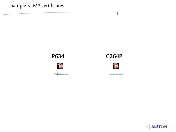 Sample KEMA certificates
