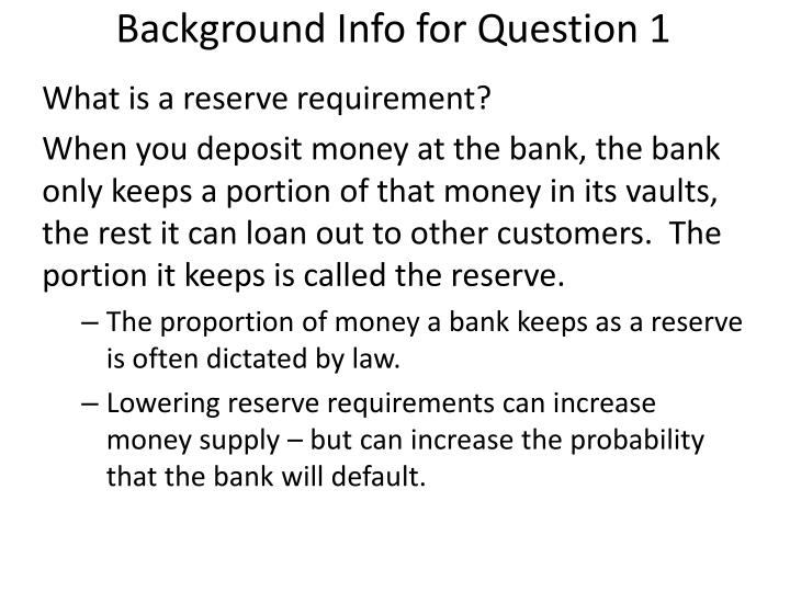 Background info for question 1