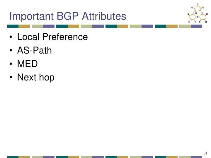 Important BGP Attributes