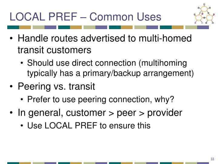 LOCAL PREF – Common Uses