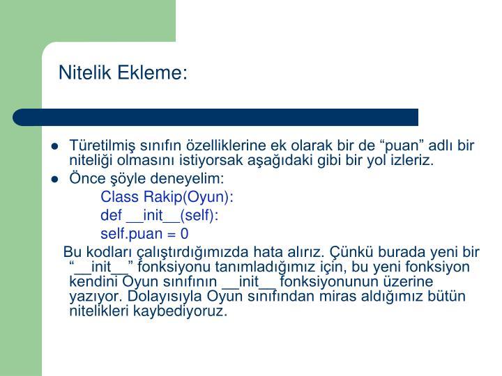 Nitelik Ekleme:
