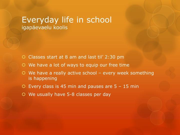 Everyday life in school