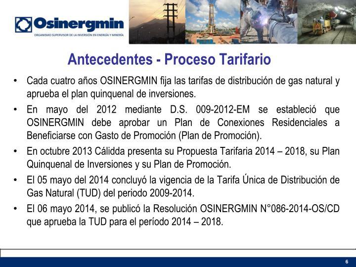 Antecedentes - Proceso Tarifario