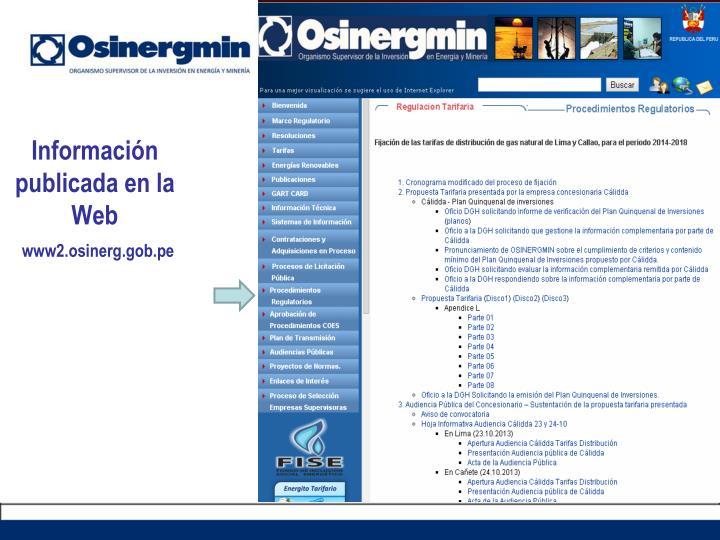 Información publicada en la Web