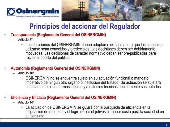 Principios del accionar del Regulador
