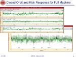 closed orbit and kick response for full machine