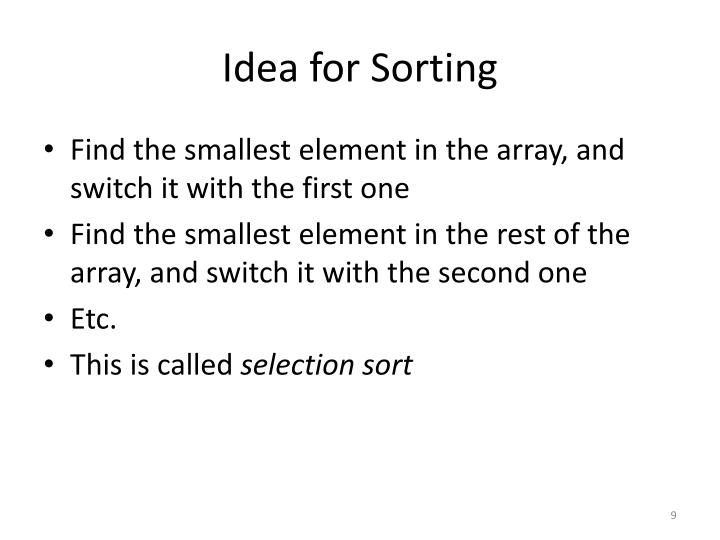 Idea for Sorting