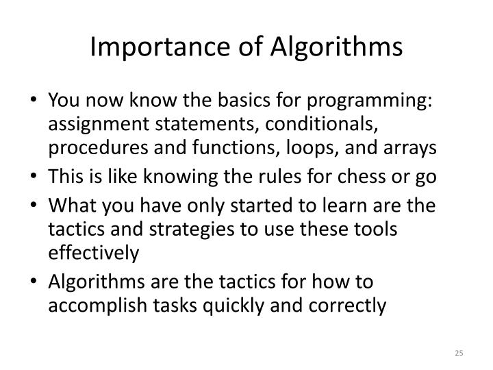 Importance of Algorithms