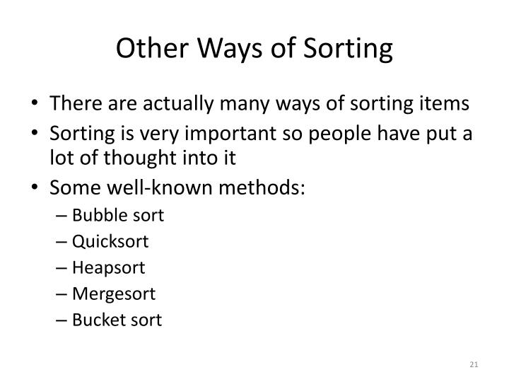 Other Ways of Sorting