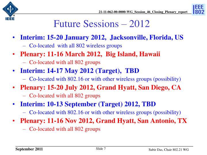 Future Sessions – 2012