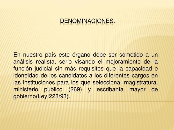 Denominaciones.