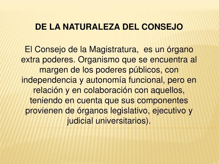 DE LA NATURALEZA DEL CONSEJO
