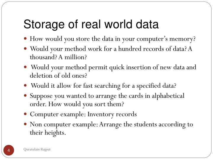 Storage of real world data